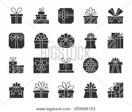 Gift silhouette icons set. Monochrome web sign kit of bounty box. Present pictogram collection includes pack, wrap, ribbon. Simple gift black symbol isolated on white. Vector Icon shape for stamp poster