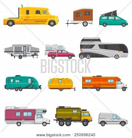 Caravan Vector Camping Trailer And Rv Caravanning Vehicle For Traveling Or Journey Illustration Tran