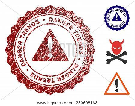 Danger Trends Warning Grunge Round Stamp With Warning Icon. Vector Red Seal With Scratched Effect Fo