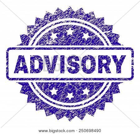 Advisory Stamp Imprint With Dirty Style. Blue Vector Rubber Seal Print Of Advisory Tag With Dust Tex