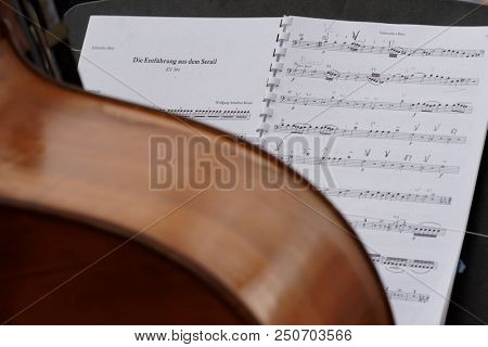 ST. PETERSBURG, RUSSIA - JULY 22, 2018: Sheet music of the opera Die Entfuhrung aus dem Serail of W. A. Mozart on the music stand during the festival All Together Opera