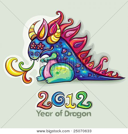 oriental new year theme cute fabulous magical blue and funny dragon