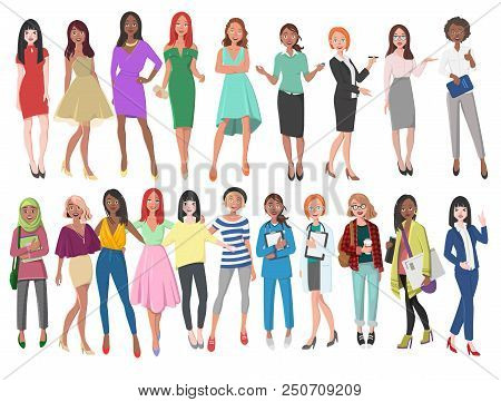 Vector Illustration Of Different Women In Dresses, Suits, Etc. Girls With Long Hair In Casual Clothe