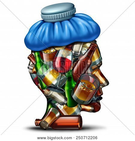 Hangover cures concept and sober up idea with a group of alcohol and alcoholic drinks shaped as a human head suffering from a severe headache with an ice bag as a 3D render. poster