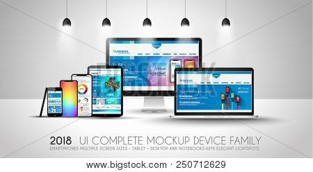 Complete Next generation device family included mobile phones, tablet, phablet, desktops and laptops with flat style design. Complete layout.