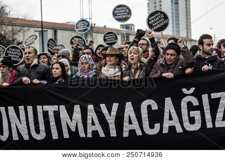 Istanbul, Turkey - Jan 19, 2012: Death Anniversary Of Hrant Dink Who Was Killed On 19 January 2007