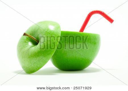 Green Apple With Red Drinking Straw