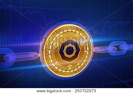 Crypto Currency. Block Chain. Komodo. 3d Isometric Physical Golden Komodo Coin With Wireframe Chain.
