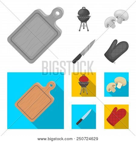 Barbeque Grill, Champignons, Knife, Barbecue Mitten.bbq Set Collection Icons In Monochrome, Flat Sty