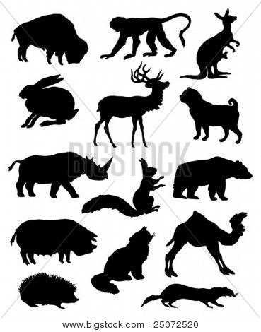 Vector silhouettes of various animals.