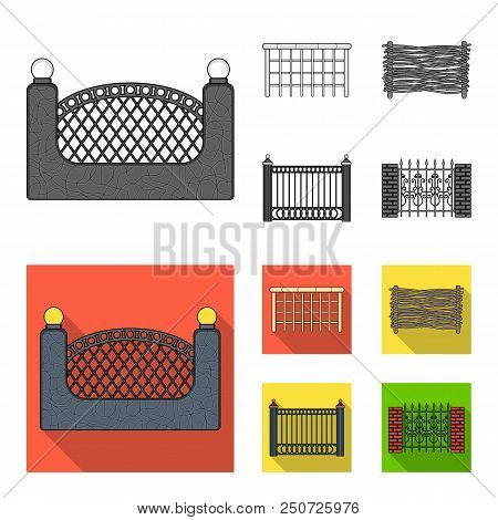 A Fence Of Metal And Bricks, Wooden Palisade. A Different Fence Set Collection Icons In Monochrome,
