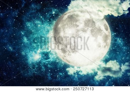 Night Sky With Stars And Full Moon. Elements Of This Image Furnished By Nasa