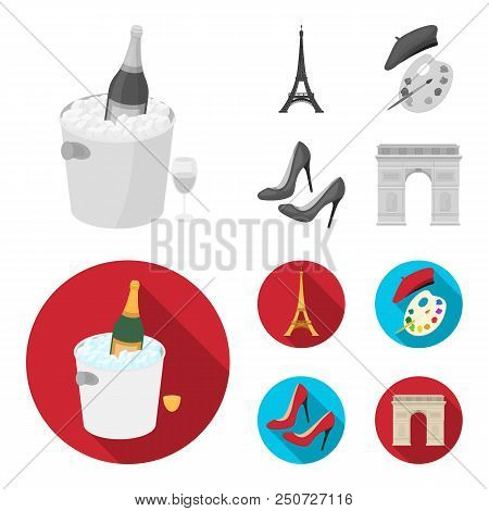 Eiffel Tower, Brush, Hat .france Country Set Collection Icons In Monochrome, Flat Style Vector Symbo