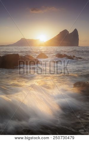 Beautiful Photograph Of A Sunrise Next To Isla Del Fraile In Aguilas
