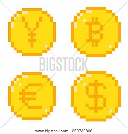 Set Of Four 8 Bit Pixel Art Coin Icons. Color Flat Style Concept Of Currency. Dollar, Bitcoin, Yen,