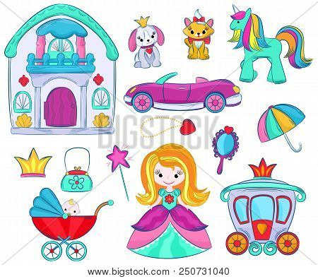Kids Toys Vector Cartoon Girlie Games For Children In Playroom And Playing With Childish Car Or Girl