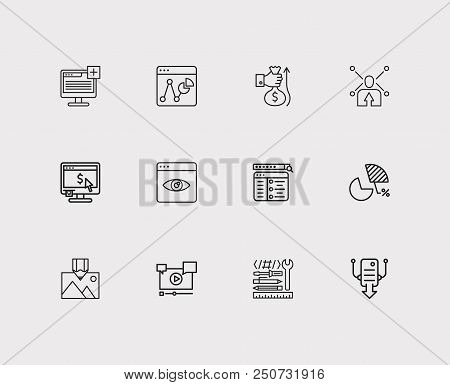 Search Icons Set. Market Analysis And Search Icons With Setup Campaign, Website Tools And Page View.