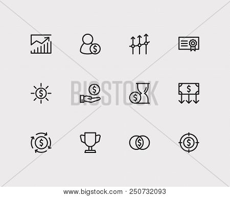 Investment Icons Set. Investment Target And Investment Icons With Profit, Money Transfer And Competi