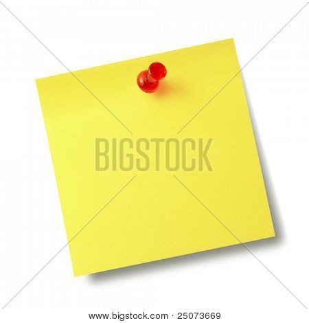 Yellow reminder note with red pin isolated on the white background.