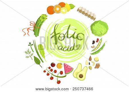 Products Rich In Folic Acid Infographic Illustration.simple Colorful Illustration With Objects Surro