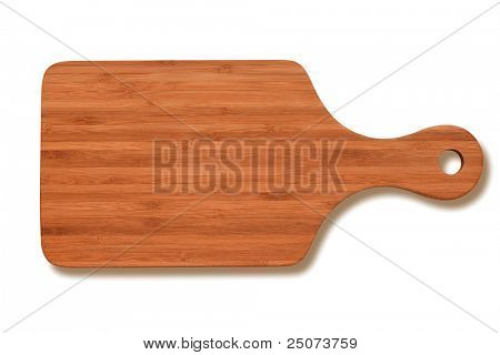 Natural bamboo cutting board isolated on white background, clipping path included.