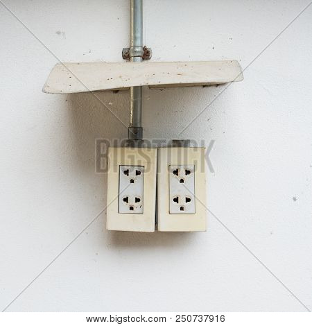 Old Wall Plugs Mounted On The Wall.