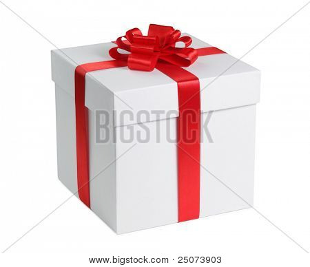 Gift box with ribbon end bow isolated on the white background, clipping path included.