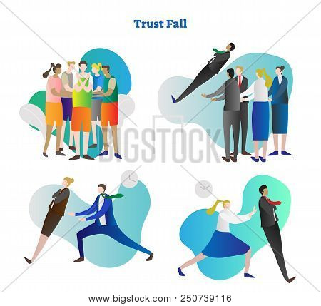 Trust fall vector illustration collection set. Various kinds of relying exercise. Team building and colleague cooperation in people group. Personality growth in risk, danger and outside comfort zone. poster