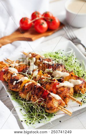 Grilled Chicken Kabobs With Tahini Sauce