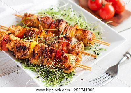 Mediterranean Grilled Chicken Kabobs With Cayenne Tahini Sauce