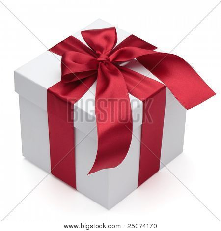 Gift box with red ribbon and bow, isolated on the white background, clipping path included.