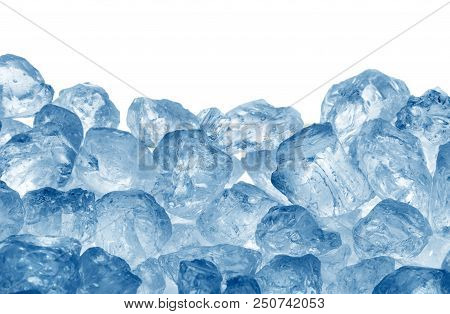 Heap Of Blue Ice On White Background