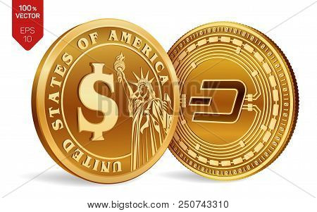 Dash. Dollar Coin. 3d Isometric Physical Coins. Digital Currency. Cryptocurrency. Golden Coins With
