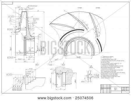 Machine-building drawing. Impeller