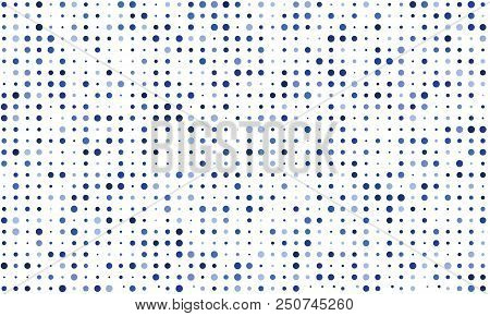 Vector Seamless Background Of Many Colored Circles Of Random Size And Random Shade. Shades Of Blue