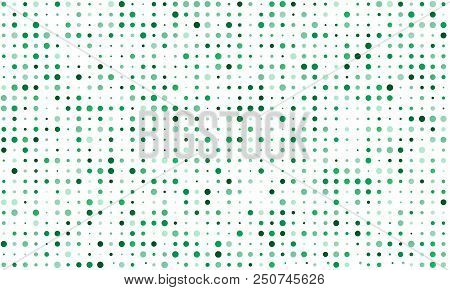 Vector Seamless Background Of Many Colored Circles Of Random Size And Random Shade. Shades Of Green