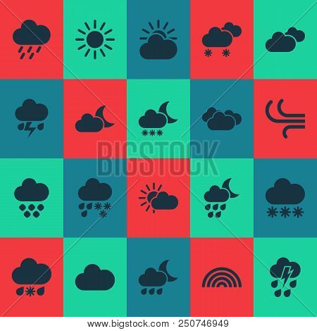 Weather Icons Set With Cloud, Sunshine, Weather And Other Sun Elements. Isolated  Illustration Weath