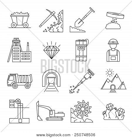 Diamond Mining Signs Black Thin Line Icon Set Include Of Mineral, Dump, Truck, Rock And Conveyor. Ve