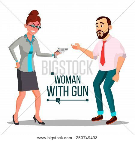 Business Woman With Gun Vector. Spy, Criminal. Unsuccessful. Isolated Flat Illustration