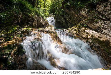 Idyllic Mountain River In Lepena Valley, Soca - Bovec Slovenia.