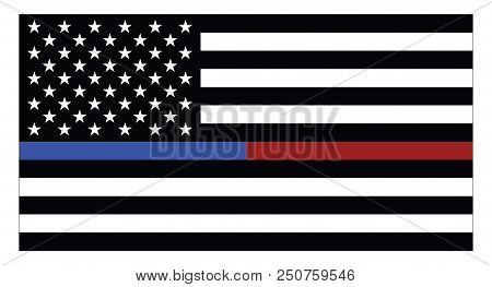 United States Of America Flag With Blue Thin Line, Which Represents The Law Enforcement And Red Thin