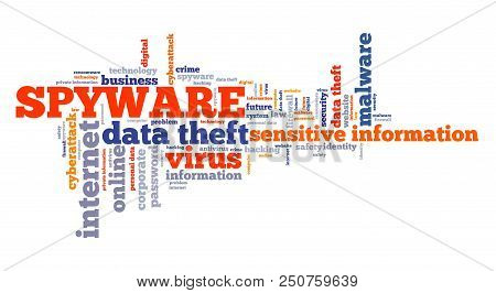 Spyware virus text graphics - compromised computer security concept. Word cloud. poster
