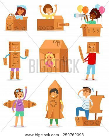 Kids In Box Vector Creative Children Character Playing In Boxed House And Boy Or Girl In Carton Plan