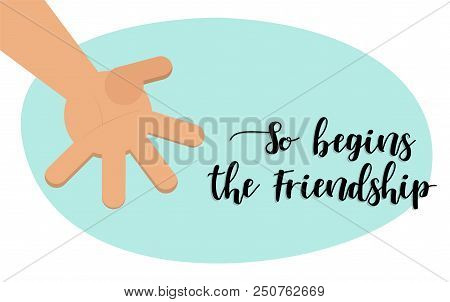 The Beginning Of Friendship. Brotherly Handshake. Vector Illustration Hand(flat Style) For Happy Fri
