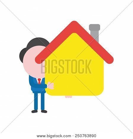 Vector Cartoon Illustration Concept Of Faceless Businessman Mascot Character Holding Yellow House Sy