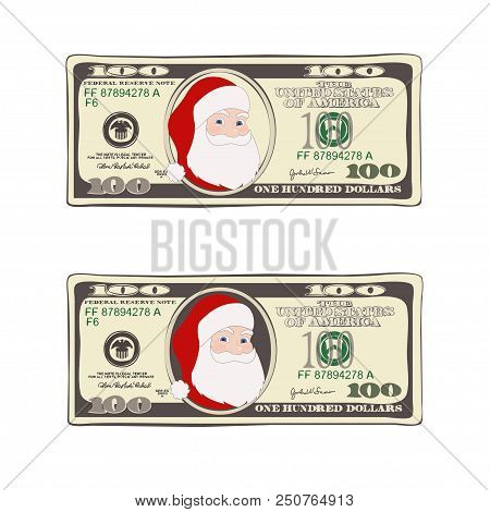Design Of 100 Dollars With Santa Claus. Set Of Christmas Bill One Hundred Dollars. Template Suitable