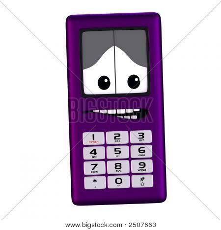 Cartoon Cell Phone With Cute And Funny Emotional Face