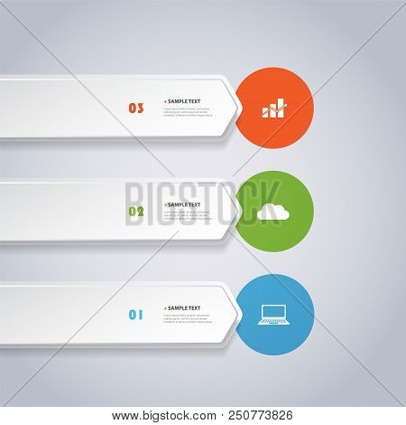 Colorful Modern Style Infographics Design - Horizontal Arrow Shaped Numbered List Items With Icons