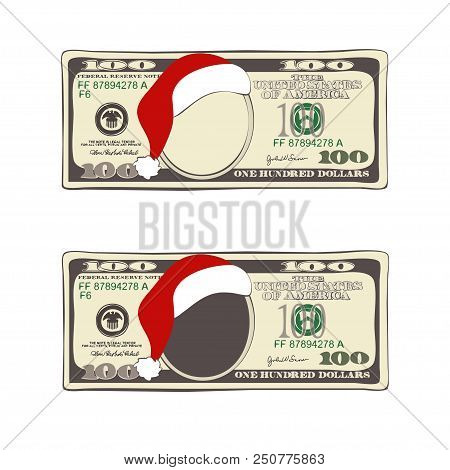 Design Of 100 Dollars With Santa Claus Hat. Set Of Christmas Bill One Hundred Dollars. Template Suit