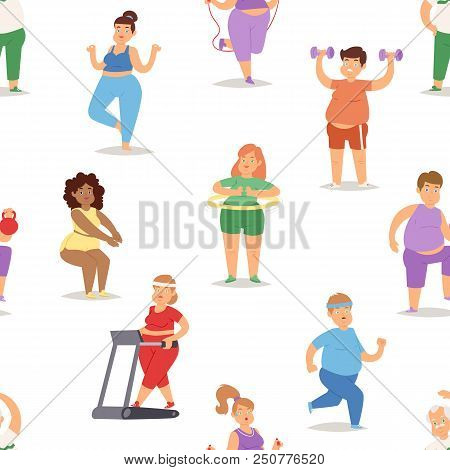 Fat People Doing Exercise Training Gym Gymnasium Sport Fatty Character Workout Vector Illustration.